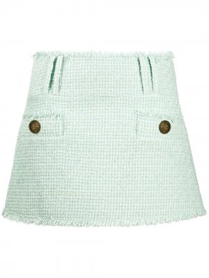 Твидовая юбка мини Balmain. Цвет: зеленый
