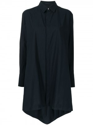 Рубашка с асимметричным подолом Yohji Yamamoto. Цвет: синий