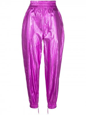 Зауженные брюки Galoni с эффектом металлик Isabel Marant. Цвет: розовый