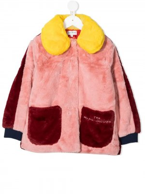 Multicolour faux fur collared coat The Marc Jacobs Kids. Цвет: красный