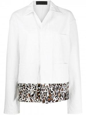 Куртка оверсайз с леопардовым принтом Haider Ackermann. Цвет: белый