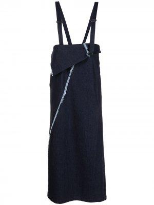 Ys джинсовое платье макси асимметричного кроя Y's. Цвет: синий