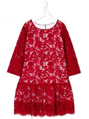Кружевное платье с заниженной талией Monnalisa. Цвет: красный