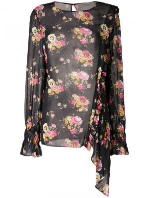 Блузка Sofia с цветочным принтом Preen Line. Цвет: черный