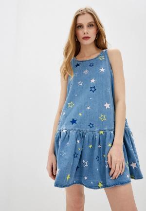 Платье джинсовое Love Moschino. Цвет: голубой