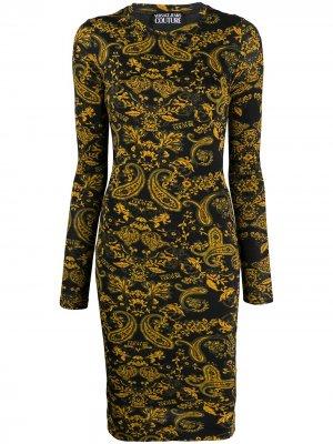 Платье с принтом Baroque Versace Jeans Couture. Цвет: черный