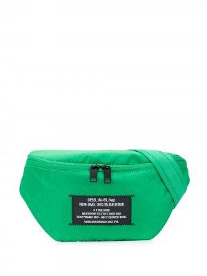 Поясная сумка с нашивкой-логотипом Diesel. Цвет: зеленый