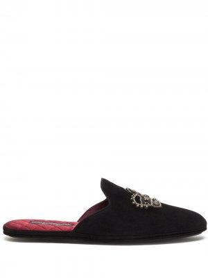Crown-embroidered slippers Dolce & Gabbana. Цвет: черный