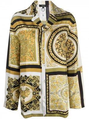 Пижамная рубашка с принтом Baroque Versace. Цвет: желтый