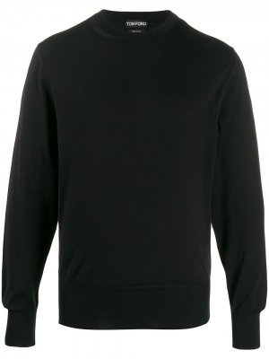 Джемпер тонкой вязки с круглым вырезом Tom Ford. Цвет: черный