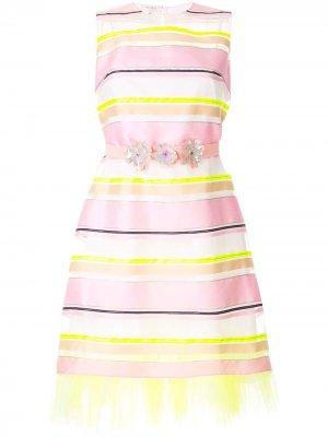 Полупрозрачное платье в полоску Delpozo. Цвет: розовый