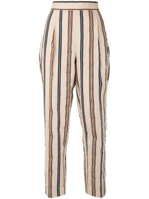 Полосатые брюки прямого кроя Tory Burch. Цвет: коричневый