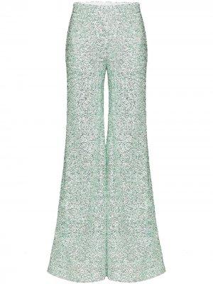 Расклешенные брюки с пайетками Halpern. Цвет: зеленый