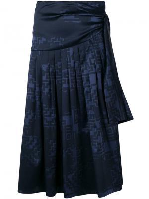 Плиссированная юбка-саронг с принтом Nehera. Цвет: синий