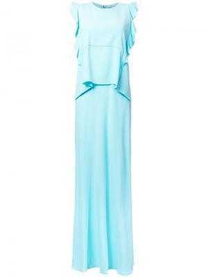 Длинное платье с оборками Carven. Цвет: зеленый