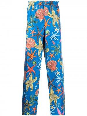 Пижамные брюки с принтом Versace. Цвет: синий