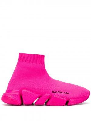 Кроссовки-носки Speed Balenciaga. Цвет: розовый