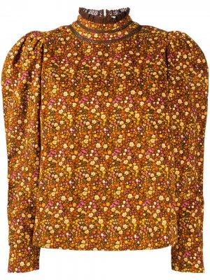 Блузка с цветочным принтом byTiMo. Цвет: коричневый