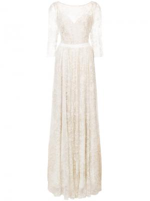 Вечернее платье из тюля с блестками Marchesa Notte. Цвет: нейтральные цвета