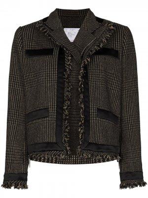 Многослойный пиджак в клетку с бахромой Sacai. Цвет: нейтральные цвета