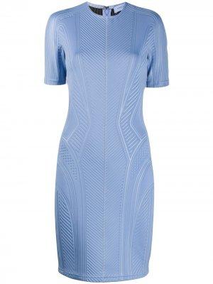 Приталенное платье в рубчик Mugler. Цвет: синий