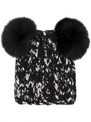 Вязанная шапка с помпонами Eugenia Kim. Цвет: черный