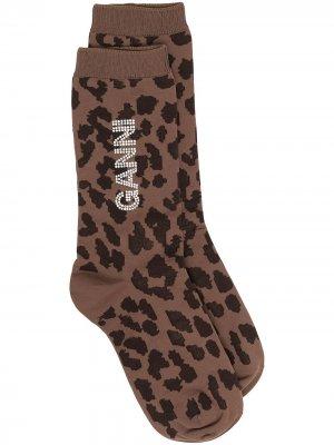 Носки с логотипом GANNI. Цвет: коричневый