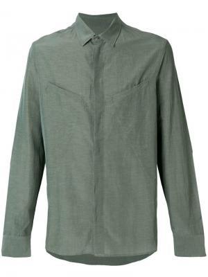 Рубашка с потайной застежкой на пуговицами Qasimi. Цвет: зеленый