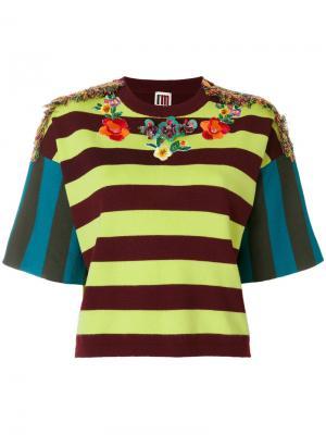 Топ в полоску с вышивкой I'M Isola Marras. Цвет: разноцветный