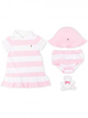 Комплект из платья, блумеров, панамы и игрушки Ralph Lauren Kids. Цвет: розовый