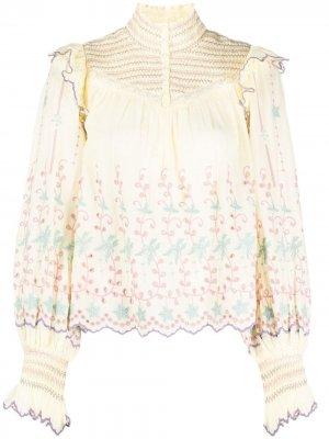 Блузка Kassie с вышивкой LoveShackFancy. Цвет: желтый