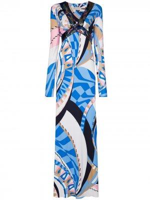 Вечернее платье Wally с принтом и пайетками Emilio Pucci. Цвет: синий