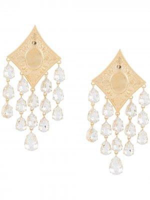 Серьги-подвески с кристаллами Alessandra Rich. Цвет: золотистый