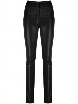 Узкие брюки из искусственной кожи Ann Demeulemeester. Цвет: черный