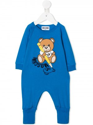 Ромпер Teddy Bear с логотипом Moschino Kids. Цвет: синий