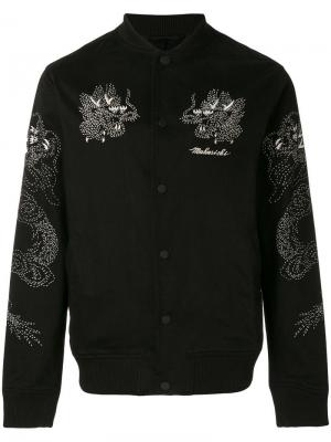 Куртка-бомбер с вышивками Maharishi. Цвет: черный