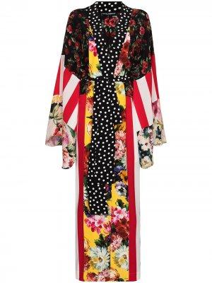 Халат в технике пэчворк с поясом Dolce & Gabbana. Цвет: черный