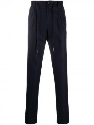 Прямые брюки с кулиской Tagliatore. Цвет: синий