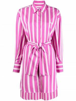 Полосатое платье-рубашка с логотипом MSGM. Цвет: розовый