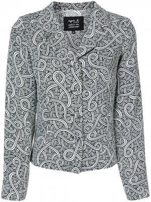 Рубашка с абстрактным принтом agnès b.. Цвет: черный