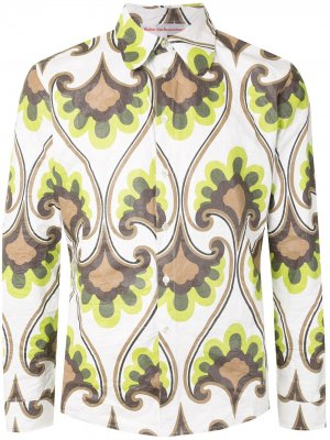 Рубашка с длинными рукавами и цветочным принтом Walter Van Beirendonck. Цвет: зеленый