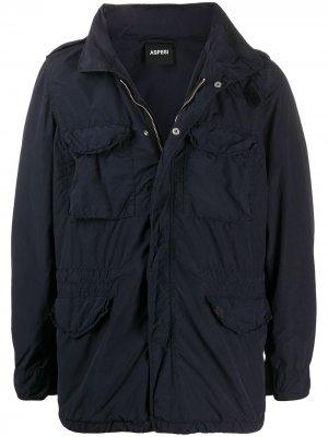 Куртка на молнии с капюшоном Aspesi. Цвет: синий