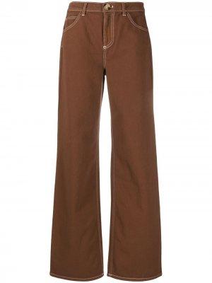 LAutre Chose прямые брюки с контрастной строчкой L'Autre. Цвет: коричневый