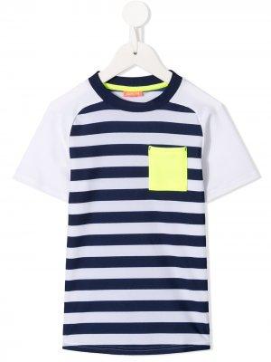 Полосатая футболка с рукавами-реглан Sunuva. Цвет: белый