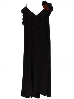 Платье миди с оборками Victoria Beckham. Цвет: черный