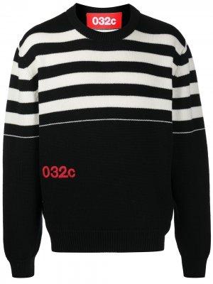 Джемпер тонкой вязки с вышитым логотипом 032c. Цвет: черный