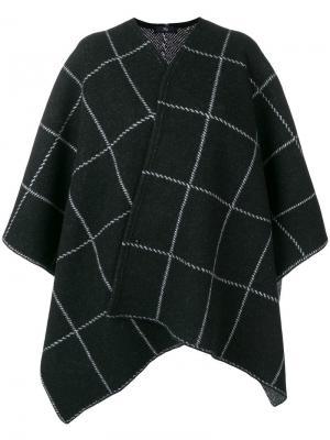 Пальто в стилистике кейпа клетку Fay. Цвет: черный