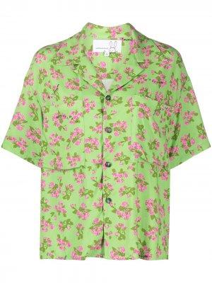 Рубашка с короткими рукавами и цветочным принтом Natasha Zinko. Цвет: зеленый