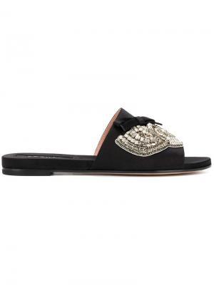 Декорированные сандалии с открытым носком Rochas. Цвет: черный