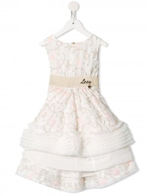 Расклешенное платье мини с вышивкой Lesy. Цвет: белый